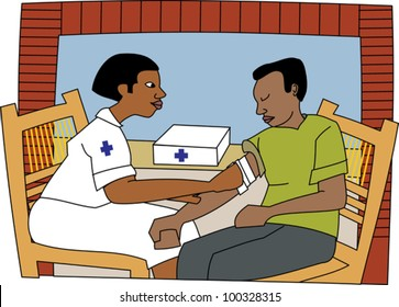 Young black professional nurse attending to a patient with an injury