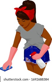 A young black woman in gloves, shorts and T-shirt cleans, disinfects, and sanitizes a surface.