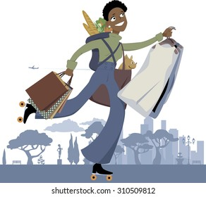 Young black woman on roller skates doing multiple errands in the city, vector illustration, no transparencies, EPS 8