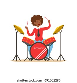 Young black woman playing on drums, guy behind the drum kit vector Illustration