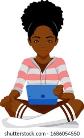 A young black woman sits cross legged reading a table computer.
