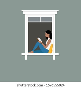 """Young black woman is sitting by the window reading a book. The concept of """"staying at home"""", self-isolation, quarantine and prevention of the spread of coronavirus (COVID-19). Stock flat illustration"""