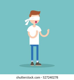 Young blindfolded ginger hair boy trying to find the right direction / flat editable vector illustration, clip art