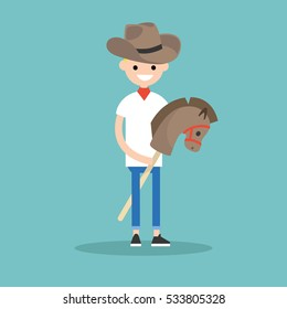 Young blond boy wearing cowboy hat and riding hobbyhorse / flat editable vector illustration