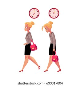 Young blond businesswoman hurrying to work and going back home tired, exhausted, cartoon vector illustration isolated on white background. Businesswoman, business woman in the morning and evening