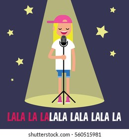 Young blond girl singing karaoke on the stage / flat editable vector illustration, clip art