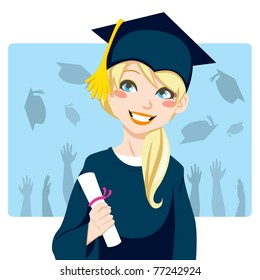 Young blond woman smiling celebrating graduation day holding diploma in her hand