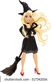 Young blonde witch in a hat with a broom. Halloween. People in carnival costumes. Vector.