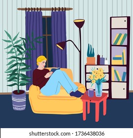 Young blonde woman sitting in chair and reading book in the evening or night. Education or relax at home concept.Cartoon flat style illustration.Cozy room scene.Vector stock design with girl character