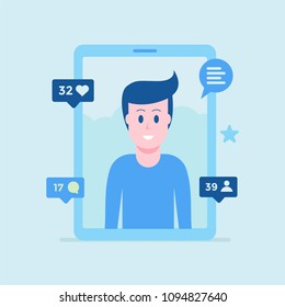 Young boy account in social media vector illustration. Tablet or smartphone display with likes and message sign number of people going to become friends. Flat style design