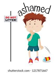 Young boy ashamed image illustration
