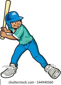 Young Boy Baseball or Softball Batter
