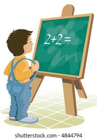 Young boy and blackboard, vector
