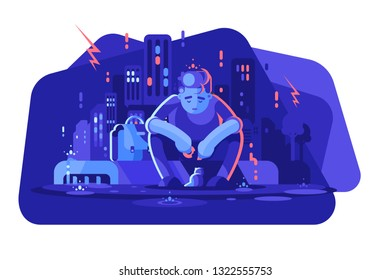 Young boy in depression vector illustration. Sad man sitting alone outside in the rain flat style concept. Depressed guy feeding little kitten. Night cityscape on background