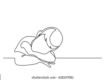 young boy dreaming leaning on desk - continuous line drawing