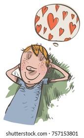 Young boy dreams of love. Vector illustration