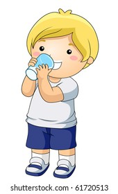 A Young Boy Drinking a Glass of Milk - Vector