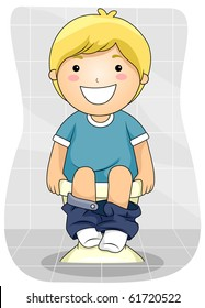 A Young Boy Emptying His Bowels - Vector