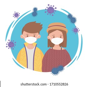 young boy and girl with protective mask, prevention spread coronavirus covid 19 vector illustration