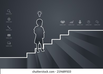 Young boy go up the stairs. Vector abstract background for template design.