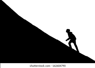 Young boy going up on a slope. Facing a challenge concept
