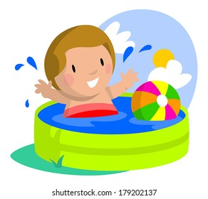 Young boy happy and splashing about in his kiddie pool.