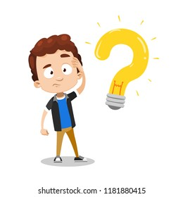 Young boy having question. Idea generation and asking himself something concept with little child. Question mark as light bulb symbol. Creative thinking process vector illustration. Kids brainstorming
