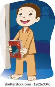 Young boy holding a story book at bedtime.