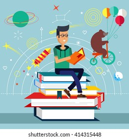 Young boy holds and read book, sitting on stack of big books. Imagination concept with opened book and planets, stars, space, slapstick, bear on bike with balloons. Fairy, magical adventure book.