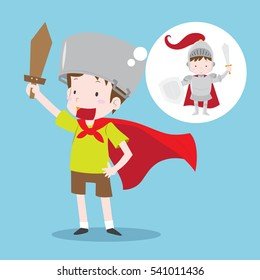 Young boy imagining become knight in shining armor. Boy with green T-shirt and brown shorts and red cloak holding wooden sword in flat design isolated on blue background. Vector illustration.