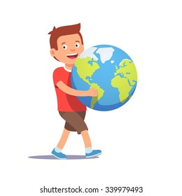 Young boy kid carrying holding planet earth. Youth holding future in their hands concept symbol. Flat style vector illustration isolated on white background.