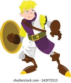 A young boy knight - Vector clip art illustration on white background