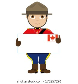 A young boy or man is dressed in a Canadian Mountie uniform and is holding a sign with a Canadian flag on it that looks like a giant letter. There is room for text