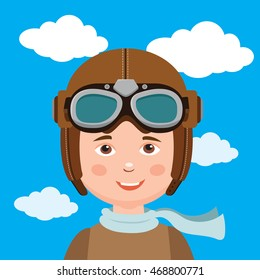 Young Boy Pilot Against Sky Background. Retro Vector Illustration. Boy Pilot Hat Vector.