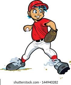 Young Boy Pitcher for Baseball and Softball