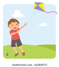 young boy with red shirt flying a kite in the field