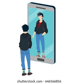 Young boy is reflected in the mirror smart phone alone in his room - Vector conceptual illustration  about social addiction for teenagers