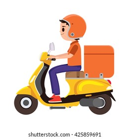 A young Boy riding an orange delivery scooter