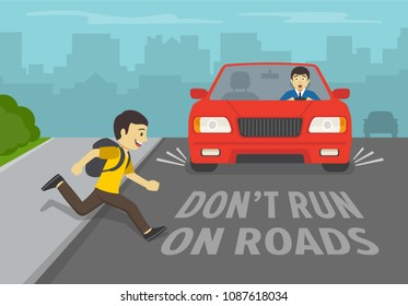 Young boy running onto road. Driver stops his car immediately. Don't run on road. Flat vector illustration.