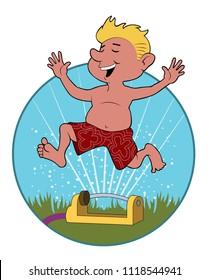 A young boy runs through a lawn sprinkler.