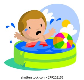 Young boy sad and splashing about in his kiddie pool.