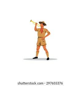 Young Boy Scout bugler sign. Vector Illustration. Branding Identity Corporate logo design template Isolated on a white background