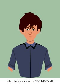 Young boy sorrow facial expression. boy sorrow expression vector illustration in cartoon style.