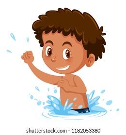 Young boy splashing in water illustration