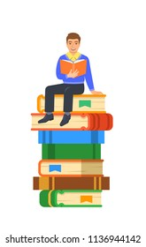 Young boy student reads open book sitting on stack of giant books. High school education concept. Vector cartoon illustration. Exam preparation using paper book. Modern well-educated youth
