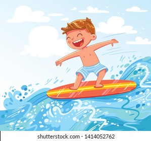 Young boy surfing on sea. Child on surf board on ocean wave. Kid swimming with body board. Active water sports for kids. Funny cartoon character. Vector illustration