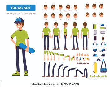 Young  boy or teenager character constructor for animation. Front, side and back view. Flat  cartoon style vector illustration isolated on white background.