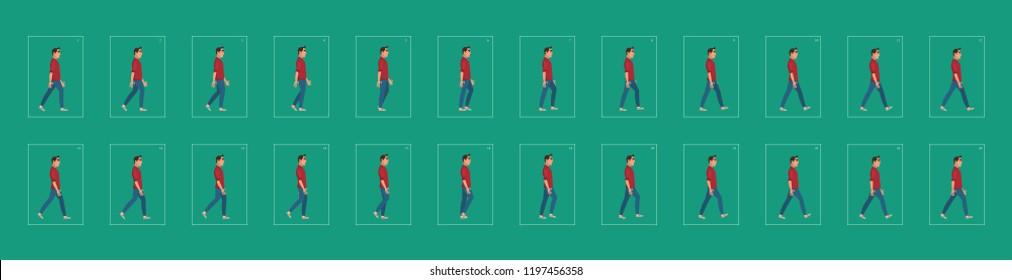 Young boy walk cycle. animation walk cycle. man walking animation sprite sheets