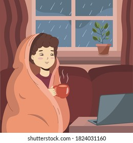 Young boy warming up with blanket and hold in hand cup of tea or coffee when it rains outside the window. Man sits on couch and looking on laptop some movie or news. Autumn vector illustration.