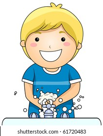 A Young Boy Washing His Hands - Vector